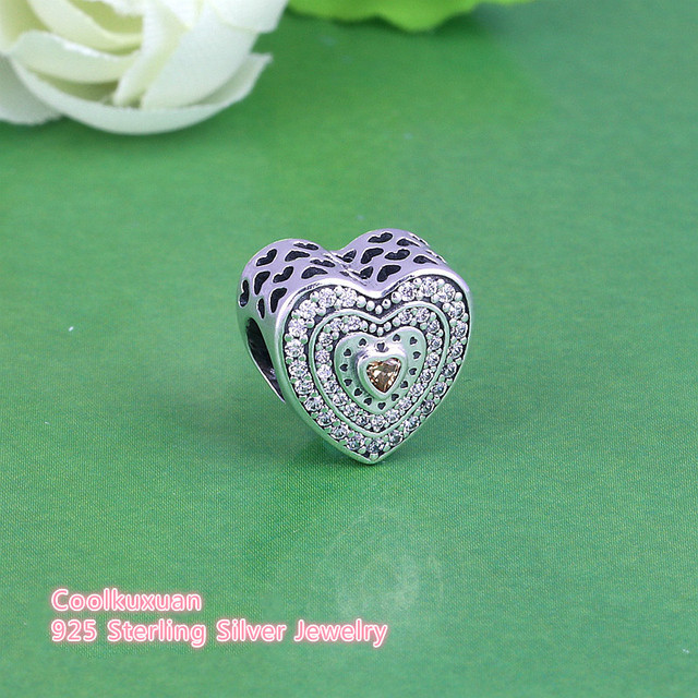 97bc0c1fe 2018 Spring New Lavish Heart Charm Beads Fits Pandora bracelets 100% 925  Sterling Silver Golden Heart CZ Stone European Bead