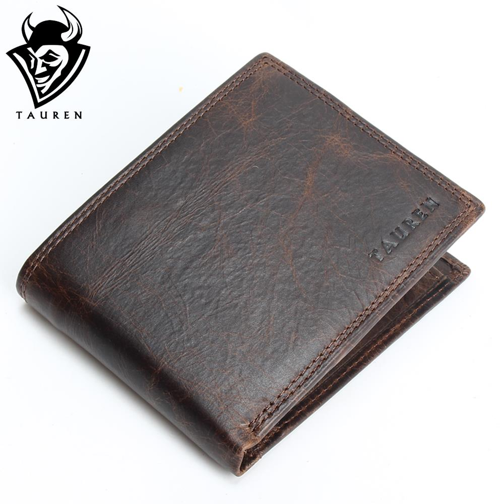 Small Vintage Wallet Brand High Quality Vintage Designer 100% Genuine Crazy Horse Cowhide Leather Men Short Coin Purse Wallet