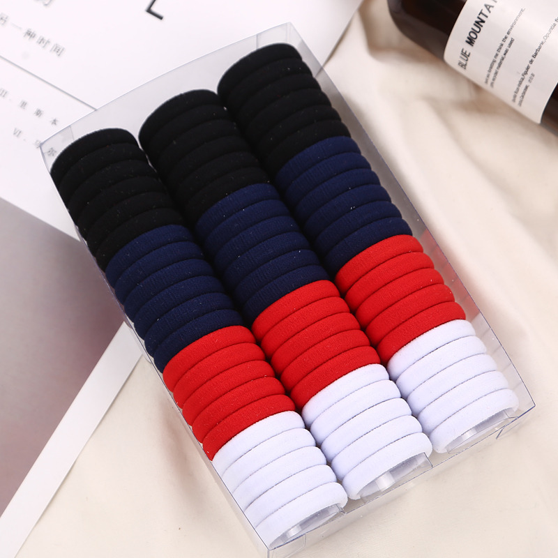 66pcs/lot Fashion Girls Children Solid Colors Plain Nylon Elastic Hair Bands Black White Candy Colors Rubber Bands   Headwear