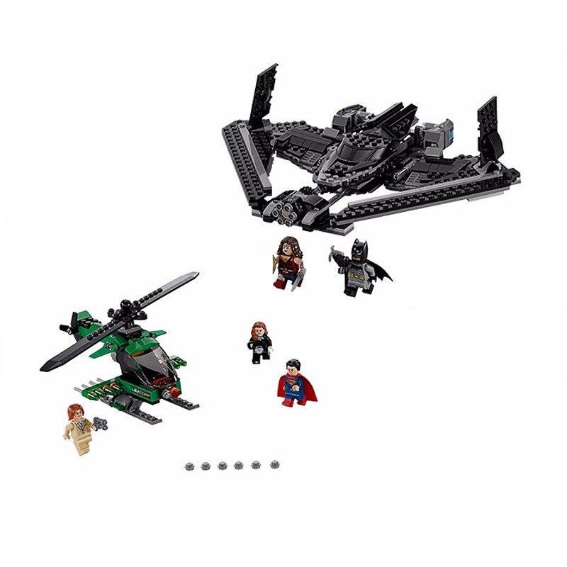 07019 555pcs Superheroes Batman V Superman Dawn of Justice Batwing Batplane Fighter Building Blocks Super Heroes Kids Gift