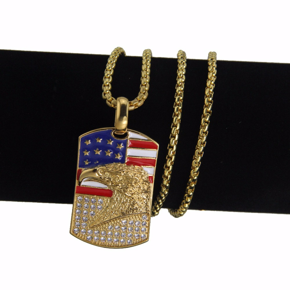 Trendy Flag Of The United States Soldier Dog Tag Necklace For USA Patriots Party Hip Hop Rock Necklace Dropshipping ...