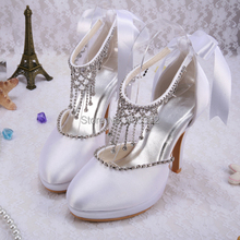 Wedopus MW129ที่กำหนดเองคริสตัลโซ่Rhinestoneเจ้าสาวชุดแต่งงานรองเท้าสีขาวD Ropshipping