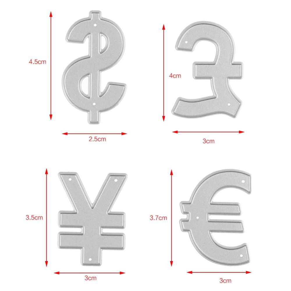 1 Set Currency Symbol Dollar Rmb Metal Cutting Dies Stencil For