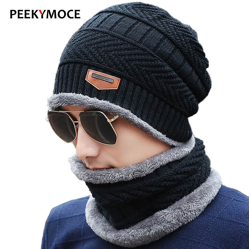 Peekymoce   Beanie   Knitted Winter Hat Female Scarf   Beanies   Hats Caps   Skullies   Bonnet Femme For Men Women   Beanie   Casual Neck Warmer