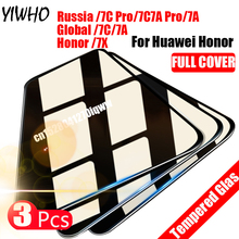 3pcs Full Cover Tempered Glass for Huawei Honor 7A Pro AUM-AL29 7A 5.45 for Honor 7C AUM-L41 5.7 7C Pro Screen Protector Sklo jonsnow for huawei honor 7c 5 7 aum l41 tempered glass lcd screen protector for honor 10 9 8 7a 7c pro aum l29 protective film
