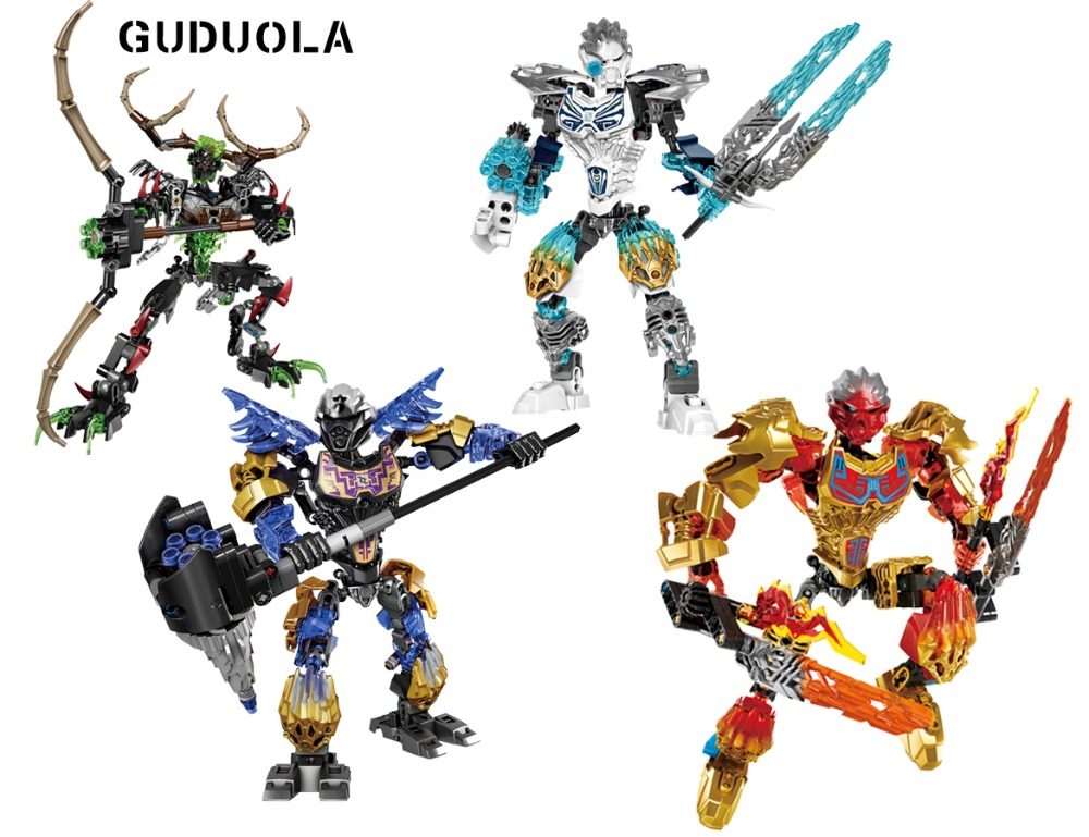 Guduola BIONICLE 4 pcs/set Earth ICE Fire Hunter Building Block toys Compatible legoing BIONICLE best gift for boy цена