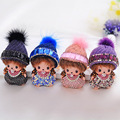 hot sale Cute Monchichi Key chain Rhinestone Wool hat Mink fur Dolls Keychain girl Women Car Bag Charm Pendant keyring
