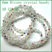 43inch Strip beads Crystal AB Color 6mm Bicone Austria Crystal Beads charm 5301 Beads Loose Spacer Bead for DIY Jewelry Making