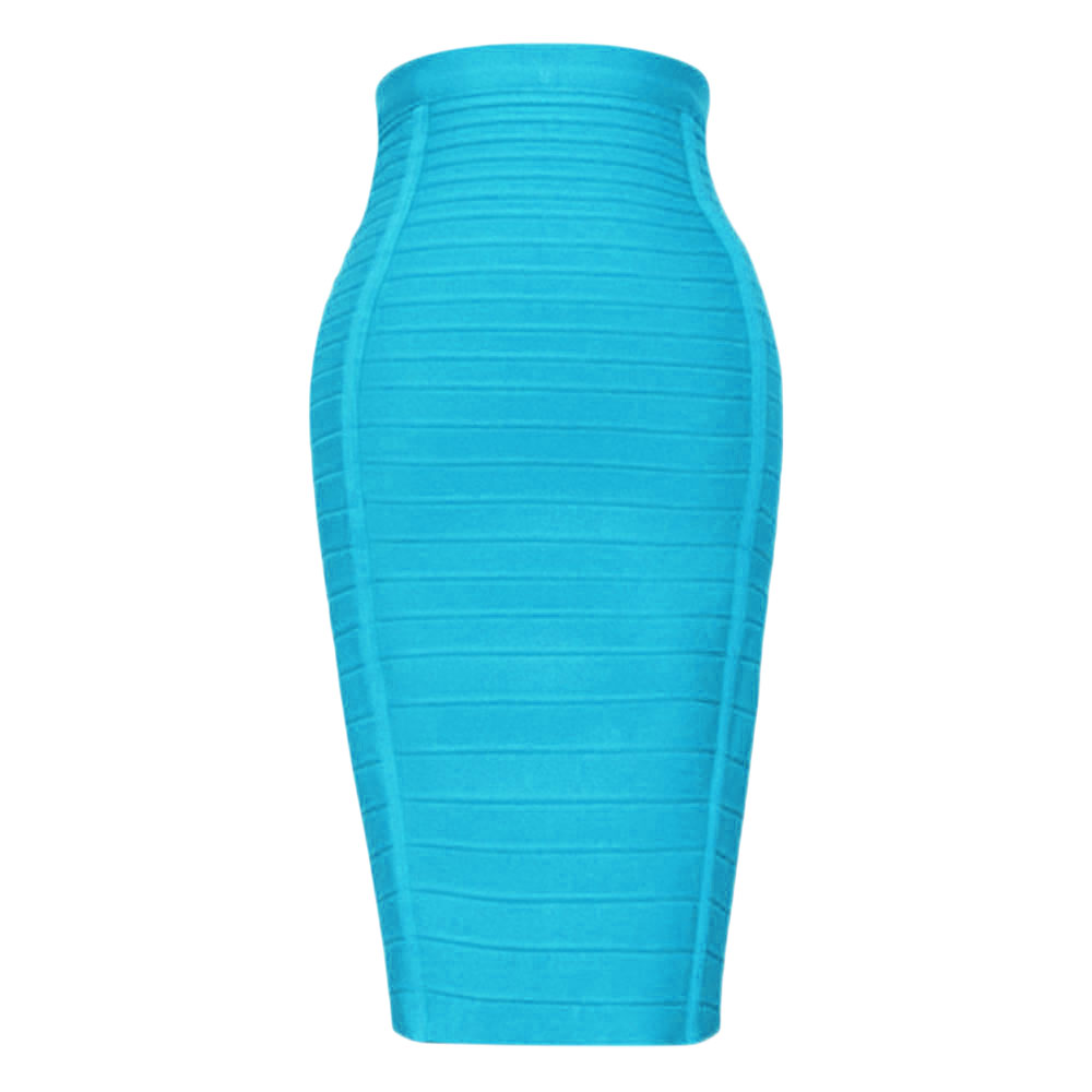 Sexy Light Blue 2018 Women's Newest Style Rayon Knee Length High Waist Bodycon Bandage Pencil Skirt-in Skirts from Women's Clothing on AliExpress - 11.11_Double 11_Singles' Day 1