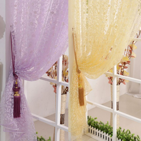 Eyelets For Curtains Factory Price! Hot Home Decor Leaves Sheer Voile Drape Door Window Room Divider Scarfs Curtains