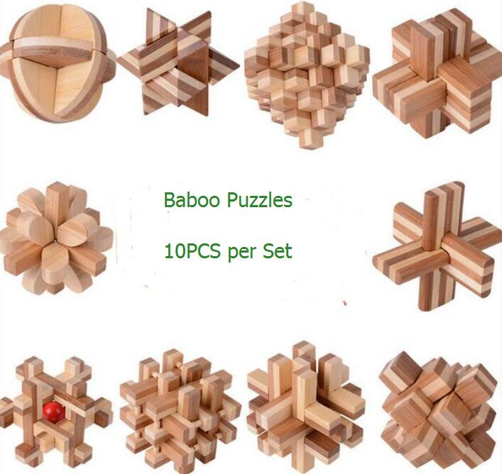 10PCS per Set IQ Bamboo Wooden Burr Puzzle Brain Teaser Game Toys for Adults Kids wooden t puzzle brain teaser iq toy