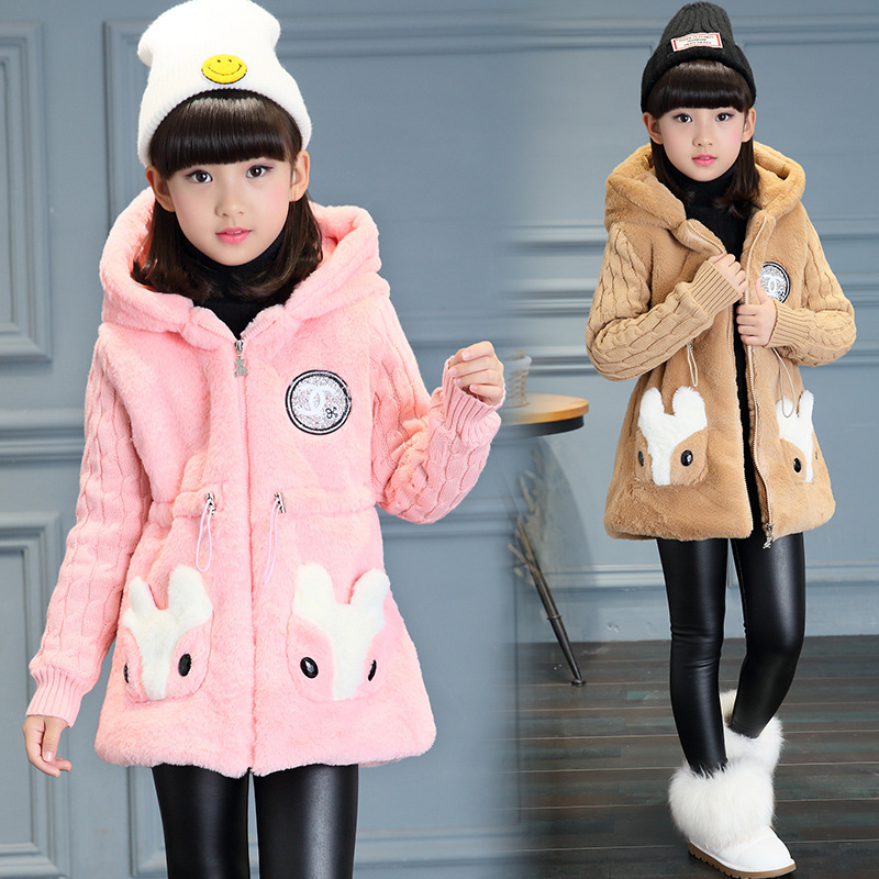цены на Anlencool fashion Kids Girls jacket autumn and winter 2018 thickening in the long hooded windbreaker Plush children warm coat в интернет-магазинах