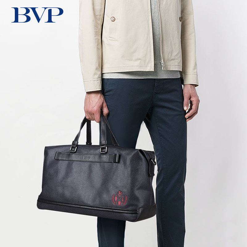 BVP Brand High Quality Handbags Cow leather Canvas Casual Tote Men Leisure Travel Bag Light Business