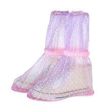 1Pair Unisex Durable PVC Rain Shoe Covers High-Top Anti-Slip Rain Shoes Cases Adult Flattie Spot Waterproof Protector Boot Cover