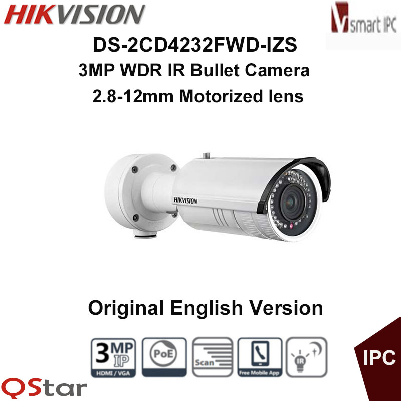 Hikvision Original English Version DS-2CD4232FWD-IZS 3MP WDR IR IP Camera Support Motorized VF lens,120dB POE CCTV Camera hikvision ds 2cd2642fwd izs original english version 4mp ip camera 2 8 12mm 4x motorized zoom support ezviz poe ir audio ip66