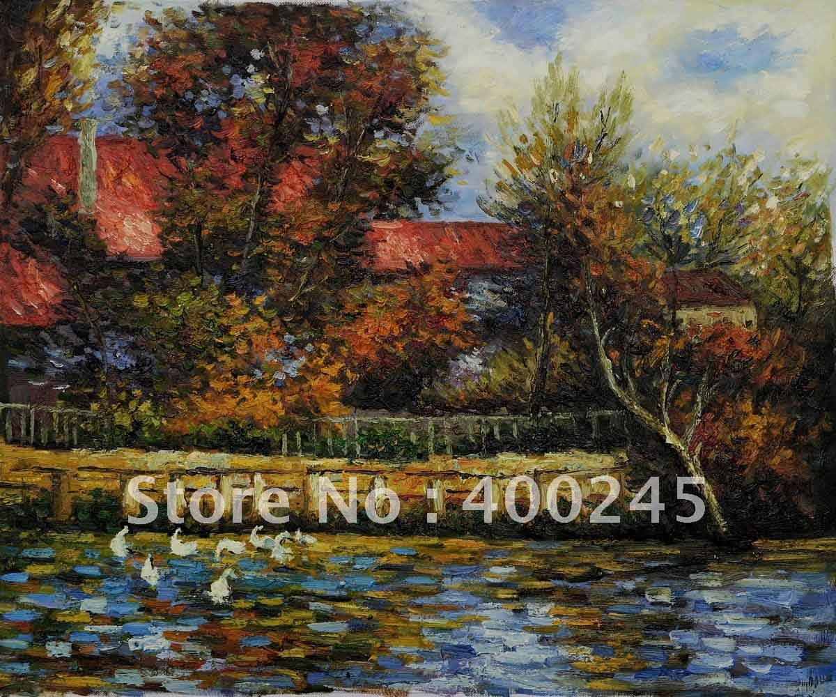 Пьер Август Ренуар картина Репродукция утка пруд Холст Искусство ручная работа+ высокое качество