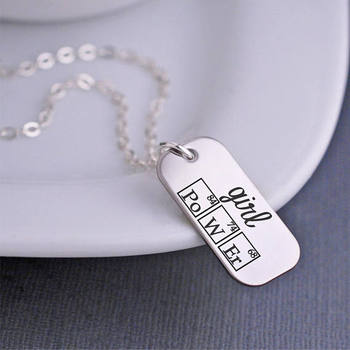Girl Power Periodic Table Elements Necklace, Inspirational Jewelry