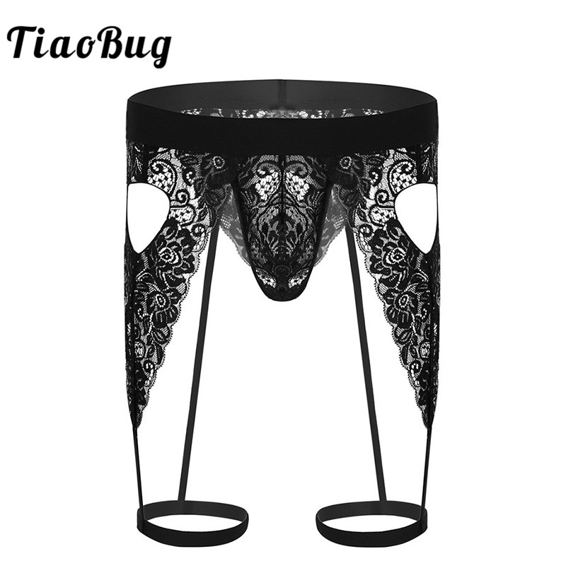 TiaoBug Mens Lingerie See Through Lace Open Butt Bulge Pouch Cutout Sissy Love Heart Bikini G-string Garters Gay Thong Underwear
