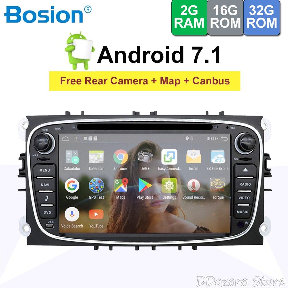 Bosion 2din четырехъядерный Android 7,1 автомобильный DVD для Ford Mondeo Focus S-max gps сенсорный экран