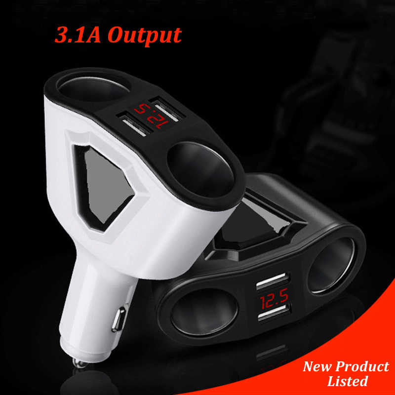 3.1A Dual USB Car Cigarette Lighter Adapter Sockets 3 In 1 Car USB Converter 120W Power Voltmeter Display Auto Lighter Splitter