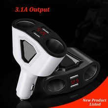 3.1A Dual USB Car Cigarette Lighter Adapter Sockets 3 In 1 Car USB Converter 120W Power Voltmeter Display Auto Lighter Splitter(China)