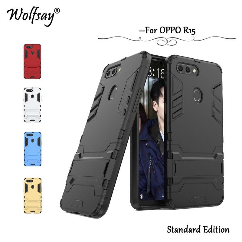 Wolfsay Cover OPPO R15 Case OPPO R 15 r15 Slim Robot Armor Rubber Capa FOR Phone Case OPPO R15 Cases OPPO R15 Stand Fundas 6.28