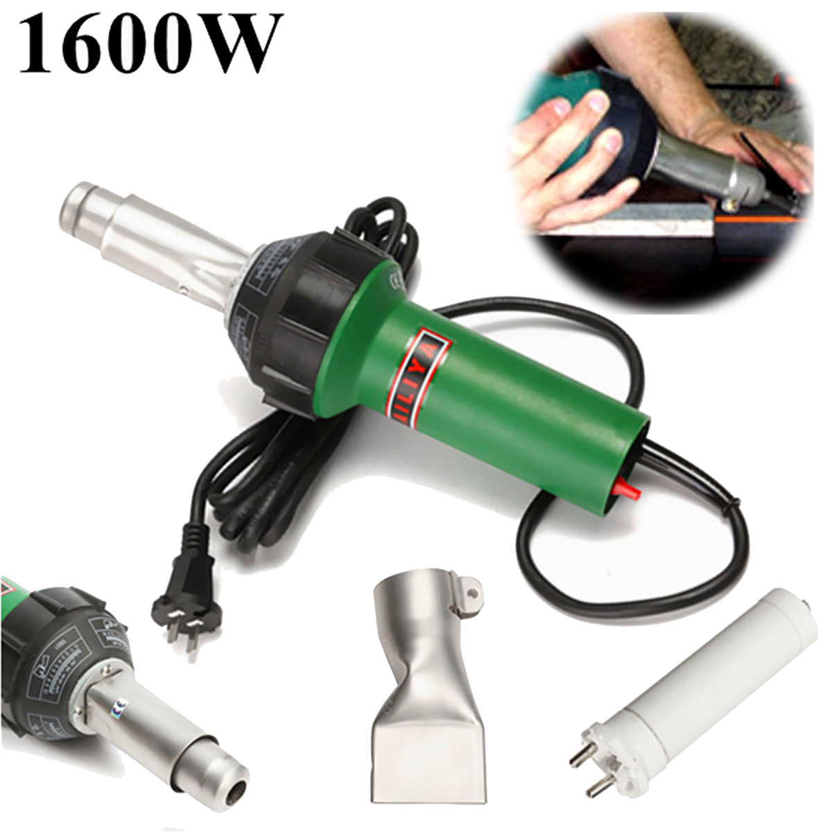 New AC 220V 1600W 50/60Hz Hot Air Torch Plastic Welding-Gun For Welder + Flat Nose Wholesale Price best price miller mig spool gun push pull feeder aluminum welding torch without cable hot dc 24v motor wire 0 8 0 9mm
