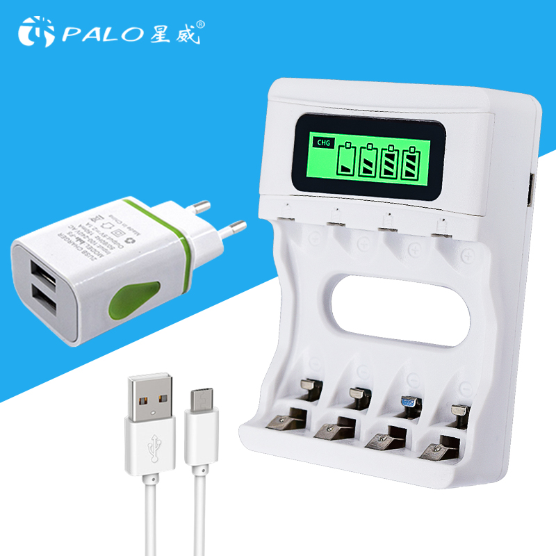 Intelligent LCD Display AA / AAA Battery Charger For Ni-Cd Ni-Mh Rechargeable Batteries USB Input with EU Plug цена