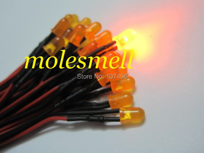 Free Shipping 100pcs 5mm 5v Diffused Orange LED Lamp Light Set Pre-Wired 5mm 5V DC Wired