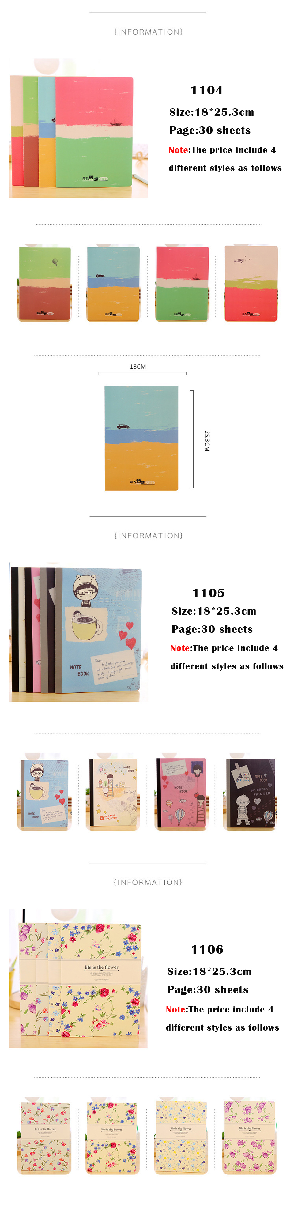 4 Pcslot Dotted Notebook Cute Diary Book Festival Gift Stationery