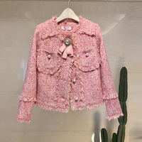 Nagodo 2018 New Retro Bow Tie Tweed Jacket Women Buttons Beads Short Woolen Coat Tassels slim female jacket Pink Gray S M L