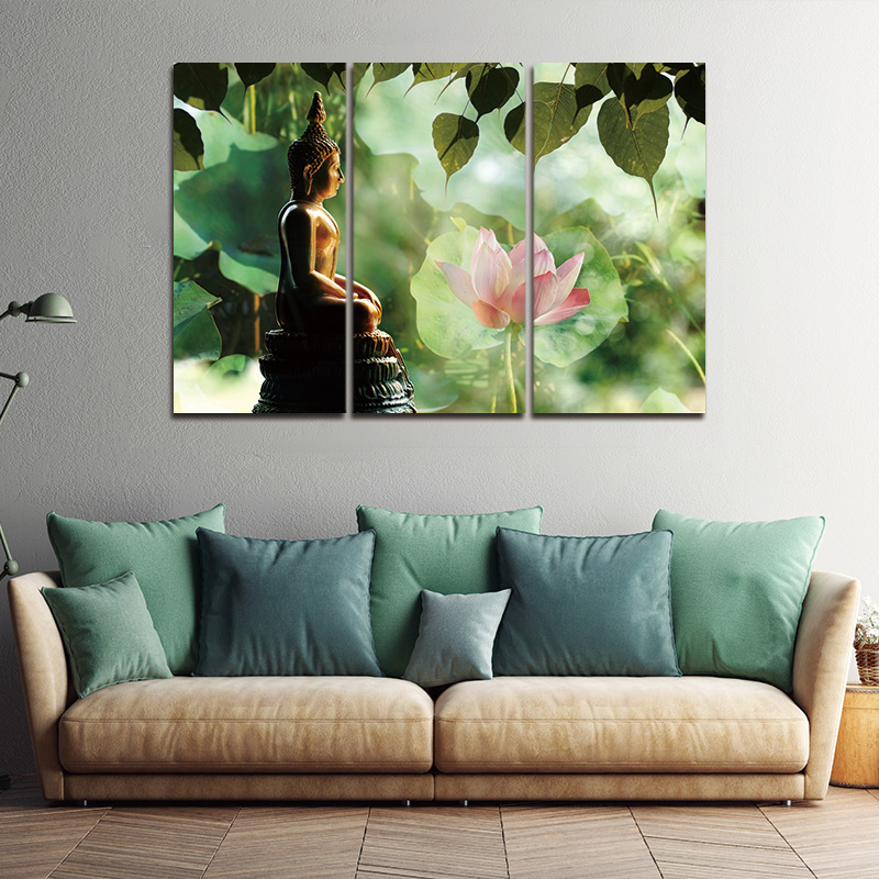 Framed 3pcs abstract buddha modern home decor canvas print painting wall art picture for living room modular picture in painting calligraphy from home