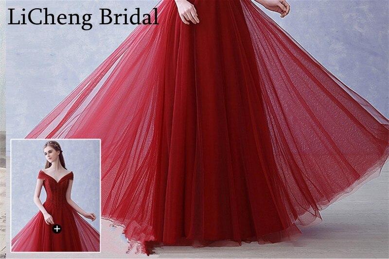 915bea7dcb72 Real photo beading red prom vestido longo sexy Com Decote Em V off the ombro  prom dress A Linha de vestido de festa longo vestido de baile 2017 em  Vestidos ...