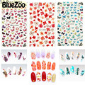 BlueZoo 1 pcs New Flower Sticker Water Transfer Nails Art Sticker Leaf Colorful Butterfly Nail Wraps Watermark Nail Decals
