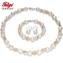Hyperbole Pearl Jewelry Sets Women Party Jewelry Gifts 10-11MM Baroque Freshwater Pearls and Shells 925 Silver Earring Set FEIGE vintage black baroque pearl bracelet for women freshwater pearls red crystal beads bracelets party jewelry gifts wholesale feige