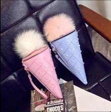 Neuheit Ice Cream Stil Frau Pelz Abdeckung Mini Schulter tasche Frauen Cone Mädchen Kleine Cross Body Handy taschen