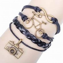 цена на Fashion bracelet multi-layer leather rope bracelet explosion models bicycle camera multi-combination friendship bracelet