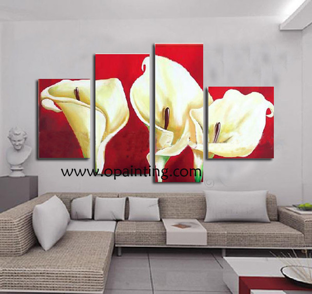 Hand Painted Red Painting Hang Paintings Abstract Oil Painting For ...