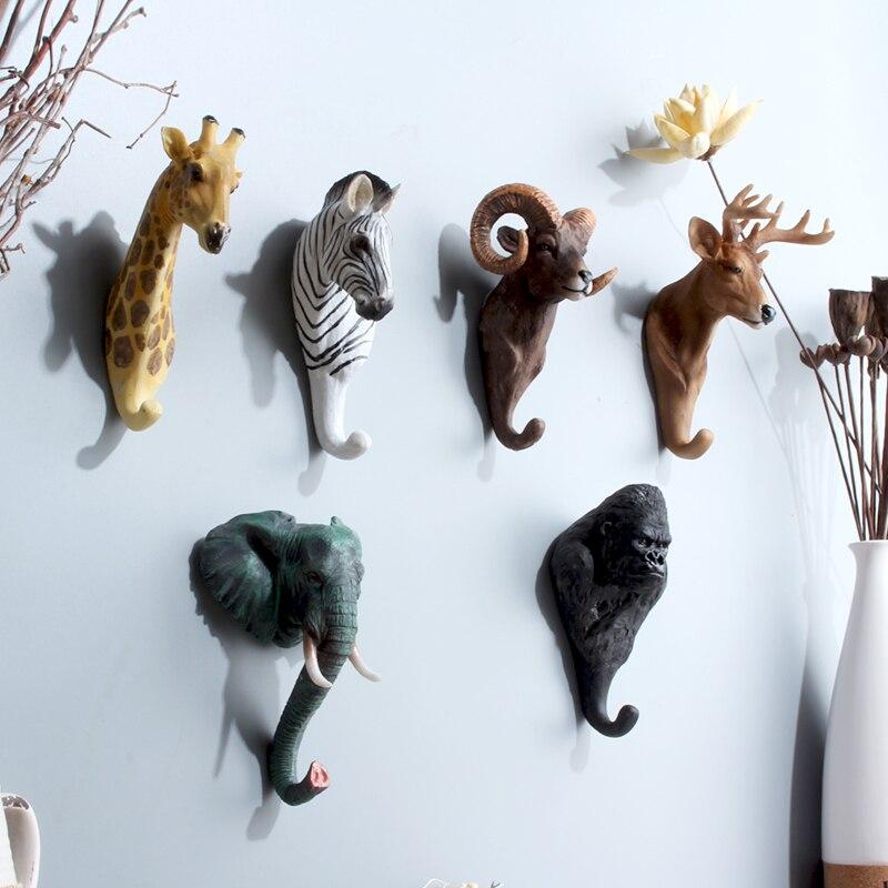 Cafe bar pared estéreo animal colgante de pared gancho de la capa de creativo de la cabeza de ciervo decoración gancho cerradura pestillo para puerta tablero gancho