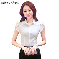 Short Sleeve Top Women Summer Women S Blouses Tops Solid Turn Down Collar Band OL Blouse