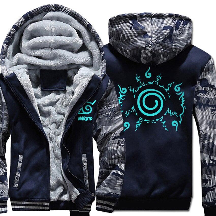 Naruto Hoodies noctilucous printing coats Thicken Zipper Anime Jacket 2019 Casual Men's wool liner Sweatshirt Camouflage sleeve