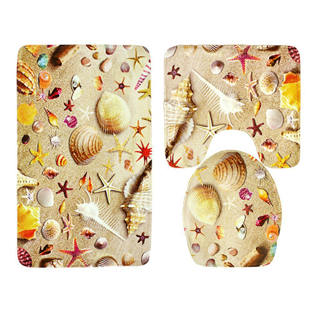 New Arrival 3pcs/set Beach Seashells Pattern Flannel Bathroom Rug Sets  Non Slip Bath Mat Set