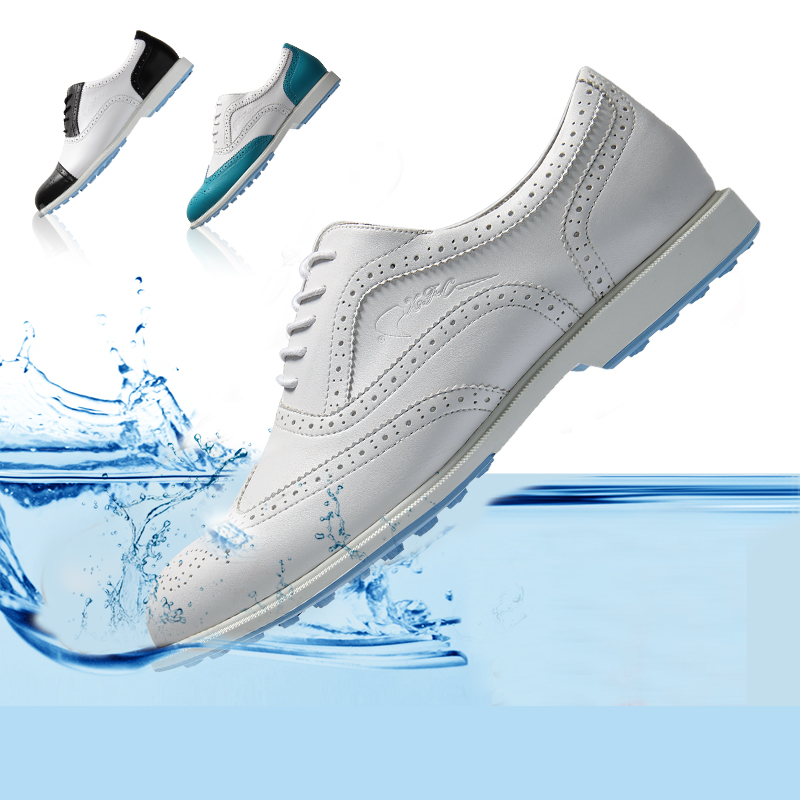 Men's women  Golf Shoes Genuine Leather Shoes British Style Waterproof Breathable (White) simulation mini golf course display toy set with golf club ball flag