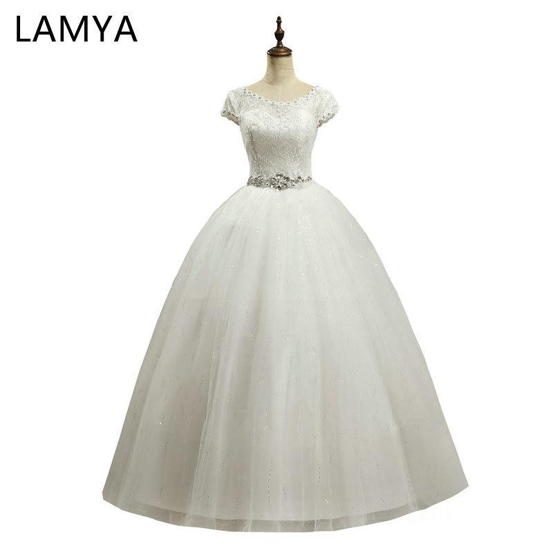 18647650ab LAMYA Elegancki Tanie Koronki Suknia Ślubna 2018 Moda Krótki Bride Suknie  Kryształ Suknie Ślubne Plus Rozmiar vestido de noiva