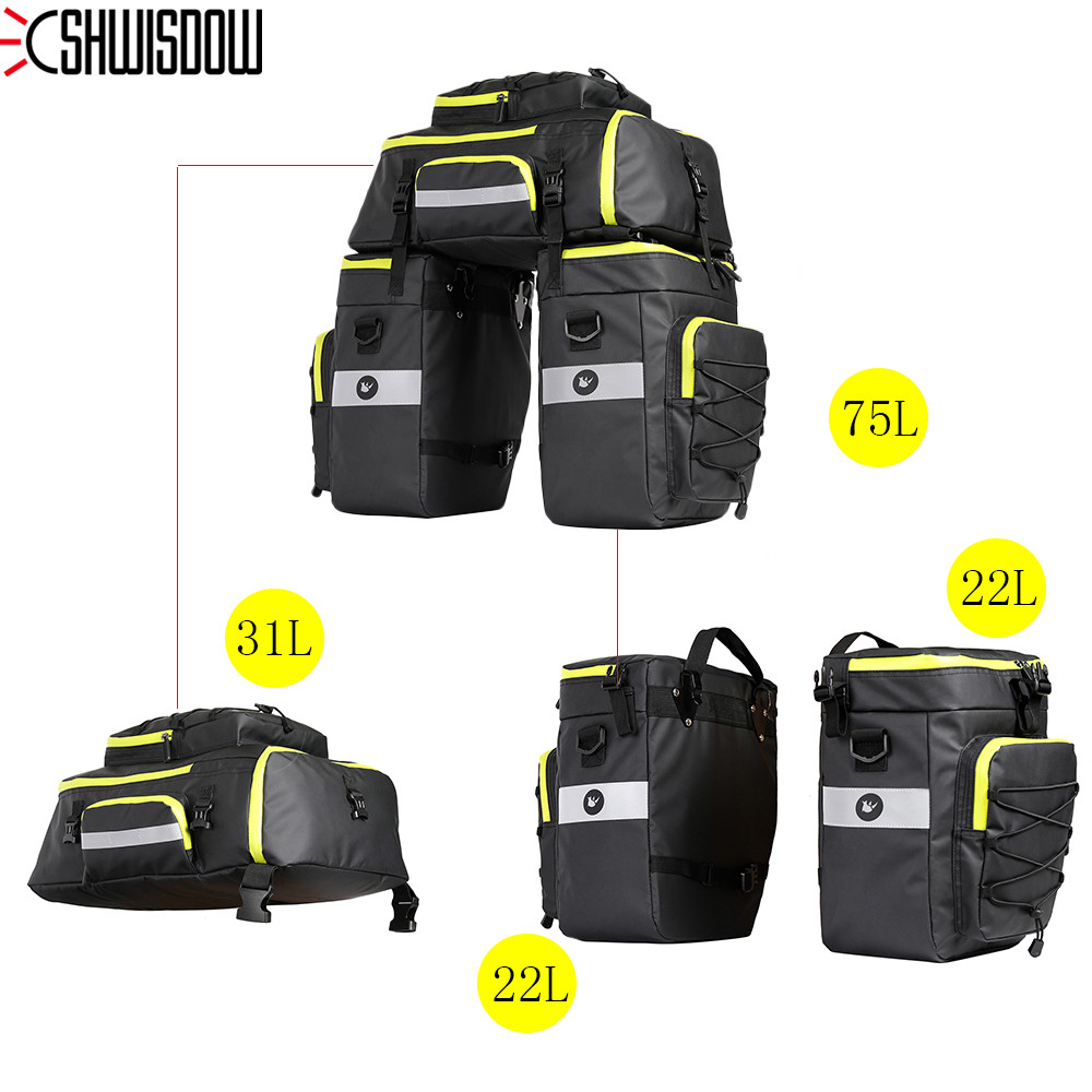 3 in 1 Waterproof Polyester Mountain Road Bicycle Bike Bags Cycling Double Side Rear Rack Tail Seat Trunk Bag