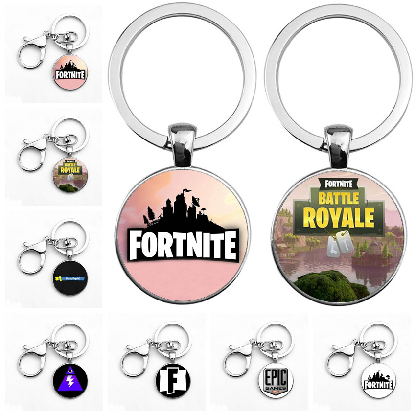 16 Styles Fortnite Props Toy Gift Custom Made Keychain Cool FPS Game Fortnite Metal Time Jewel Pendant Free Shipping