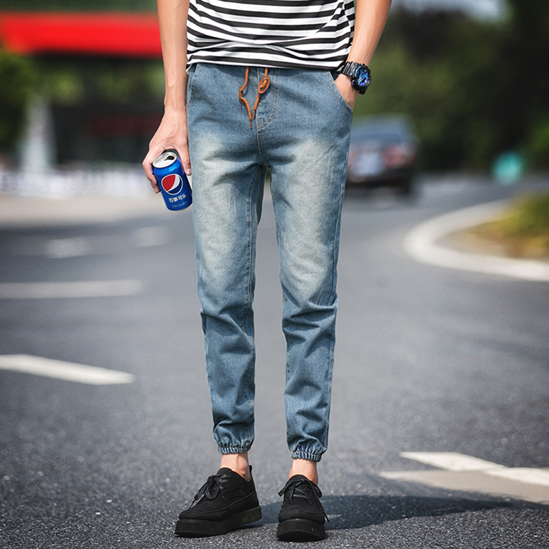 Men Jeans 2017 New Elastic Waist Ankle-Length Blue Pants Fashion Teenagers Comfortable Trend Slim Fit Casual Jeans High Quality calida elastic trend бюстье розовый