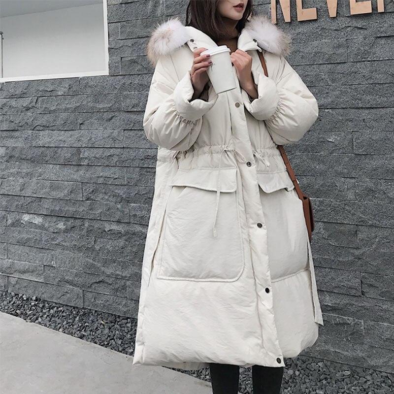 Winter Jacket Women 2018 Real Raccoon Fur Collar 90% White Duck   Down   Long Parka Warm Jacket Female Hooded Loose Women   Down     Coat