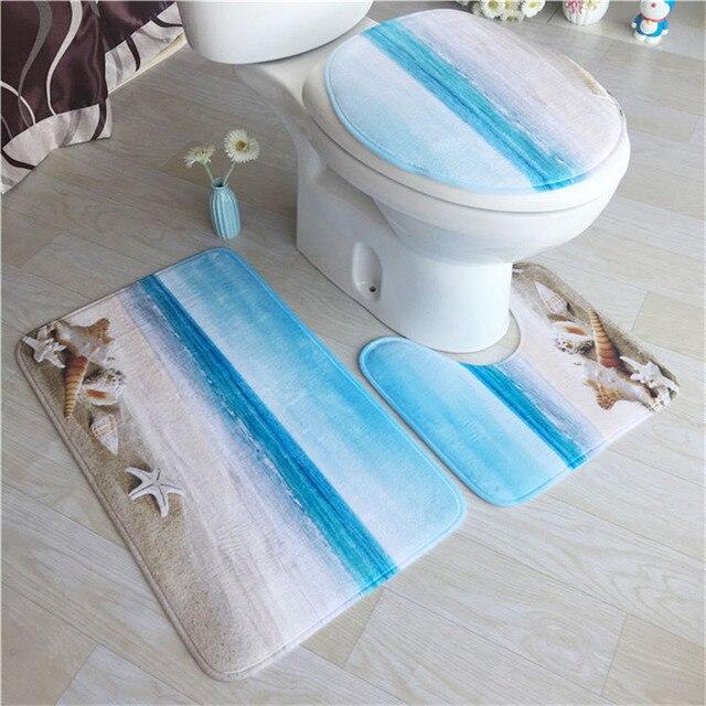 Printed Toilet Bowl Mat Bathroom Carpet Antislip Mat Flannel Carpet  3pcs/setBathroom Mats Super Soft