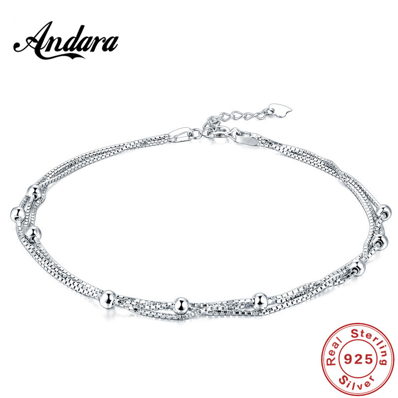0d21208c8e 100%925 Sterling Silver Anklet Summer Style Woman Fashion Accessories  Jewelry Gift-in Anklets from Jewelry   Accessories on Aliexpress.com